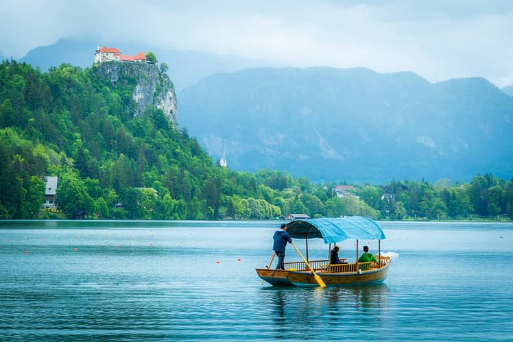 Lake Bled, Slovenia, with Bled Castle above.