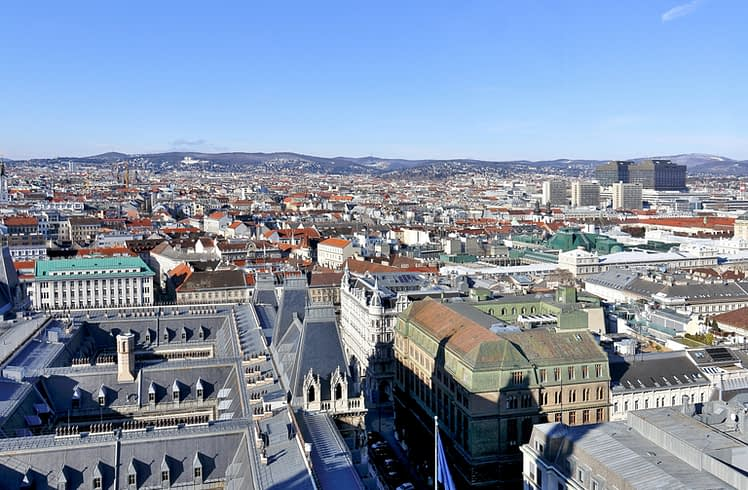 Vienna from above, view of Rathaus & Hospital